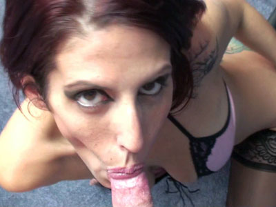 Curvy redhead wife lavender rayne is down on her knees and swallowing a stiff dick Lavender Rayne.